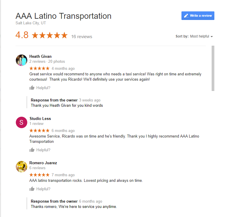 Taxi Salt Lake city Reviews
